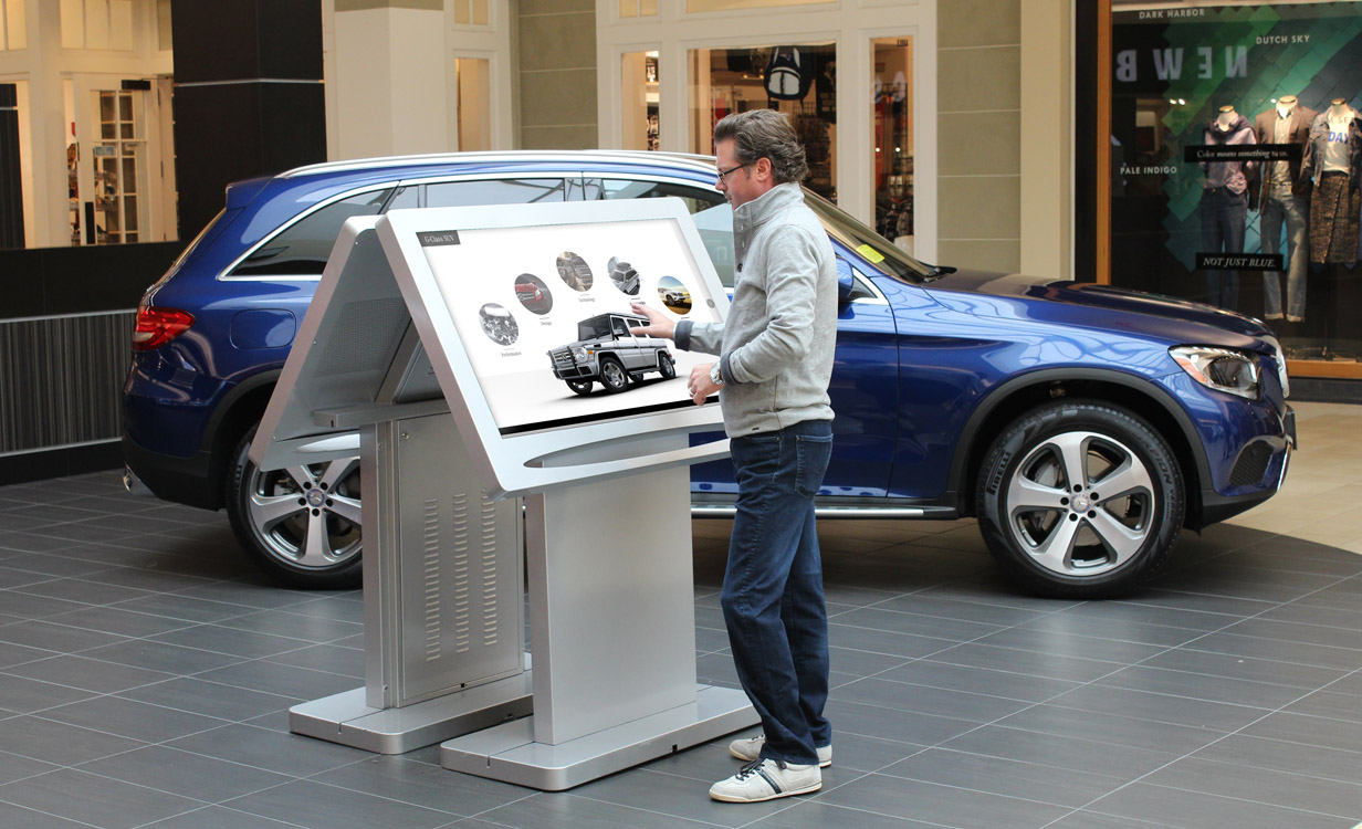 ViewPoint touchscreen kiosk and Mercedes-Benz in mall