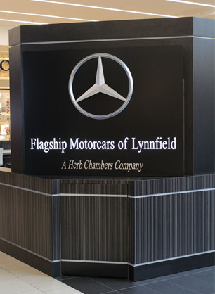 Mercedes-Benz Logo at the Flagship kiosk in mall