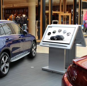 ViewPoint touchscreen kiosks and Mercedes-Benz cars in mall